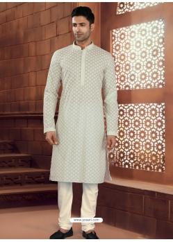 Light Grey Exclusive Readymade Designer Kurta Pajama