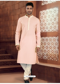 Light Orange Exclusive Readymade Designer Kurta Pajama