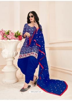 Royal Blue Readymade Designer Party Wear Jam Cotton Patiala Suit