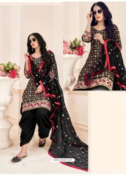 Black Readymade Designer Party Wear Jam Cotton Patiala Suit