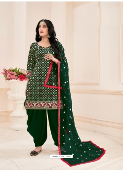 Dark Green Readymade Designer Party Wear Jam Cotton Patiala Suit