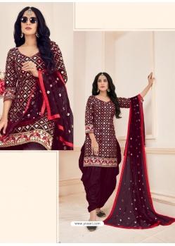 Deep Wine Readymade Designer Party Wear Jam Cotton Patiala Suit