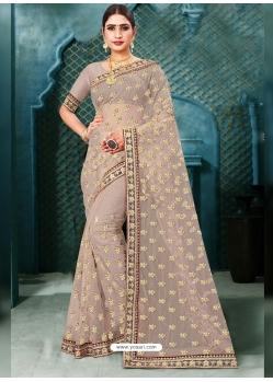 Light Brown Latest Designer Party Wear Net Sari