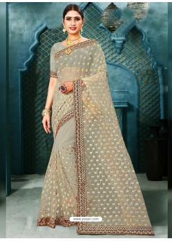 Grayish Green Latest Designer Party Wear Net Sari