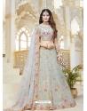 Aqua Grey Latest Designer Wedding Bridal Lehenga Choli