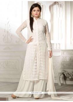 Shop online glossy resham work white net designer palazzo salwar kameez for How to design salwar kameez at home