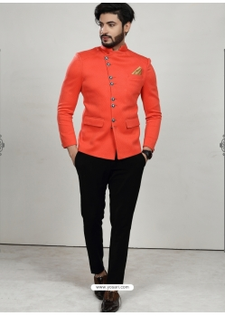 Orange Readymade Designer Indo Western Sherwani