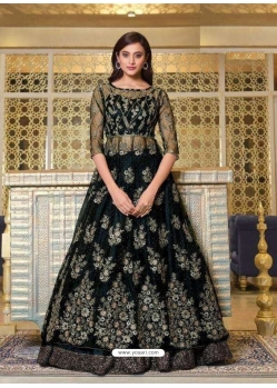 Black Designer Soft Net Party Wear Indo Western Suit