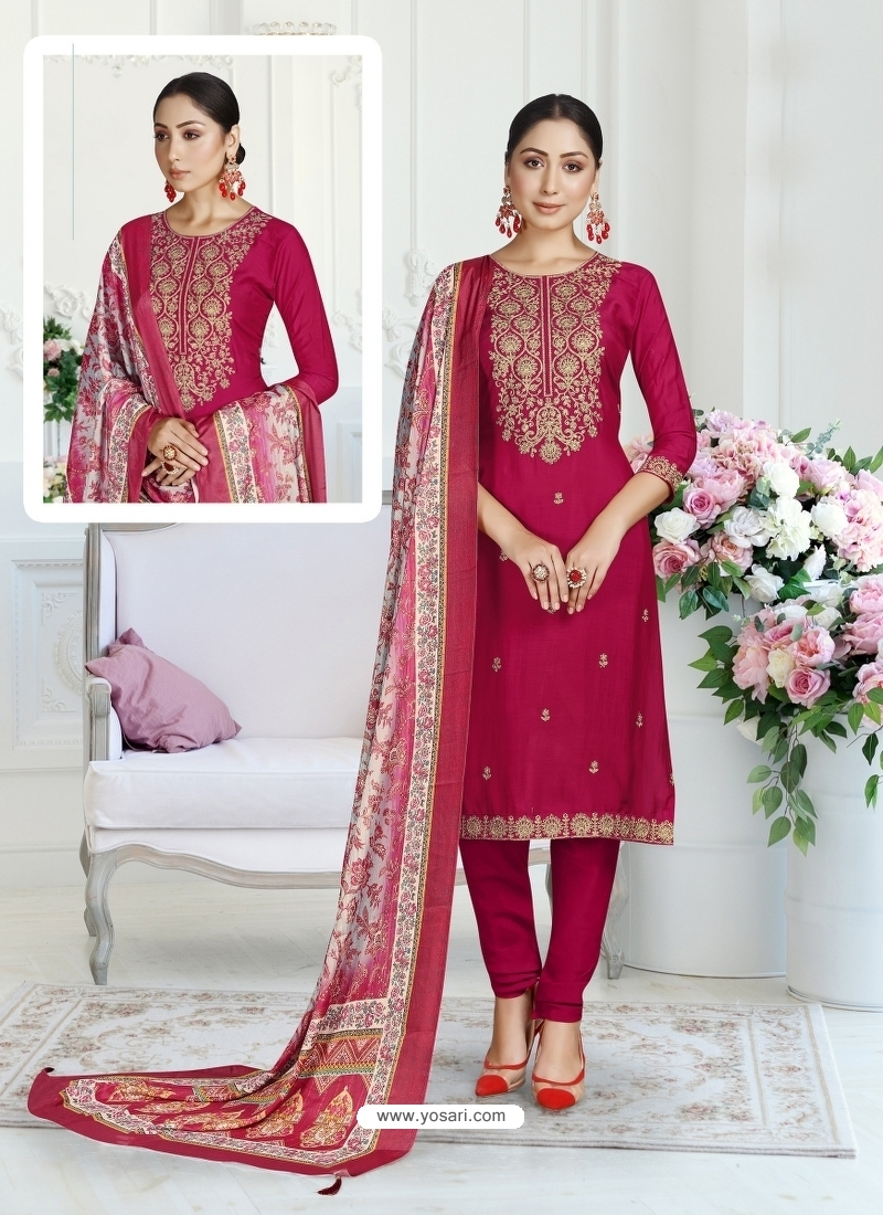 Rose Red Designer Pure Maslin Churidar Salwar Suit