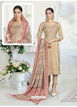 Light Beige Designer Pure Maslin Churidar Salwar Suit