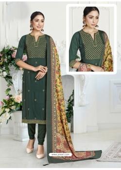 Dark Green Designer Pure Maslin Churidar Salwar Suit