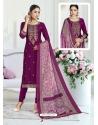 Medium Violet Designer Pure Maslin Churidar Salwar Suit
