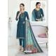 Teal Blue Designer Pure Maslin Churidar Salwar Suit