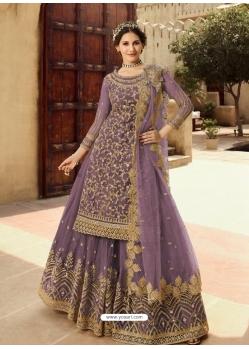 Lavender Designer Party Wear Soft Net Wedding Suit
