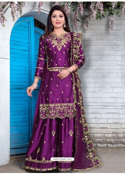 Purple Designer Party Wear Georgette Satin Palazzo Suit