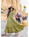 Yellow Designer Party Wear Maslin Long Kurti