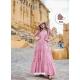 Pink Designer Party Wear Maslin Long Kurti