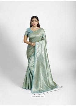 Aqua Grey Kanjeevaram Jacquard Work Tanchoi Silk Sari