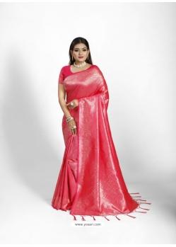 Fuchsia Kanjeevaram Jacquard Work Tanchoi Silk Sari