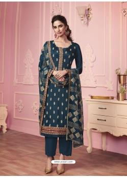 Teal Blue Heavy Designer Thread Embroidered Georgette Salwar Suit