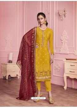 Yellow Heavy Designer Thread Embroidered Georgette Salwar Suit