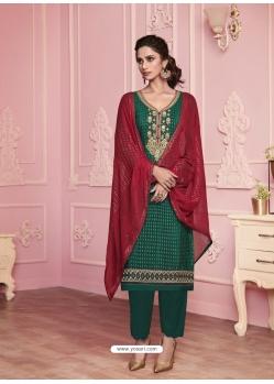 Dark Green Heavy Designer Thread Embroidered Georgette Salwar Suit