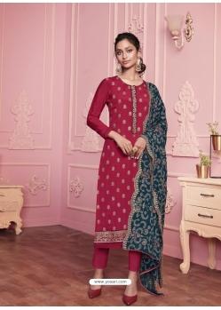 Rose Red Heavy Designer Thread Embroidered Georgette Salwar Suit