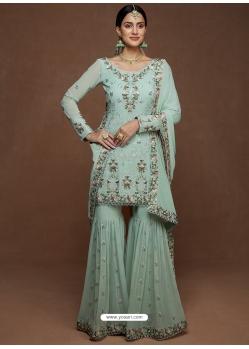 Aqua Grey Designer Party Wear Heavy Georgette Sharara Salwar Suit