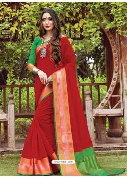 Tomato Red Designer Party Wear Cotton Handloom Sari