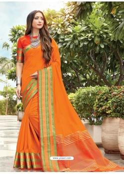 Orange Designer Party Wear Cotton Handloom Sari