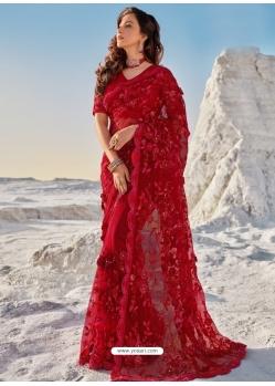 Tomato Red Fancy Designer Party Wear Sari