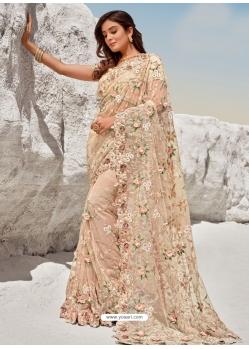 Light Beige Fancy Designer Party Wear Sari