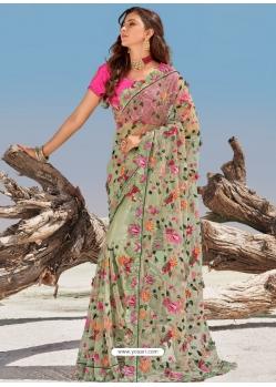 Grayish Green Fancy Designer Party Wear Sari