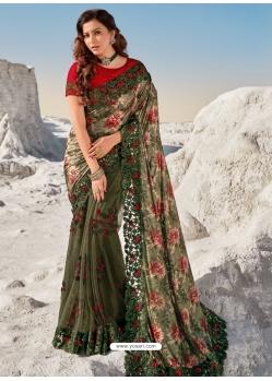 Mehendi Fancy Designer Party Wear Sari