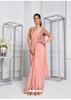 Peach Fancy Designer Party Wear Sari