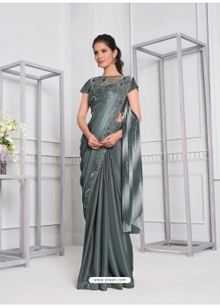 Grey Fancy Designer Party Wear Sari