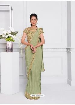 Pista Green Fancy Designer Party Wear Sari