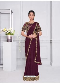 Deep Wine Fancy Designer Party Wear Sari