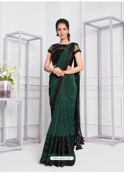 Dark Green Fancy Designer Party Wear Sari