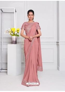 Old Rose Fancy Designer Party Wear Sari