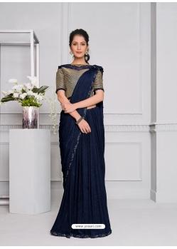 Navy Blue Fancy Designer Party Wear Sari