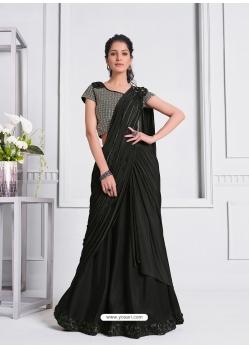 Black Fancy Designer Party Wear Sari
