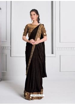 Coffee Fancy Designer Party Wear Sari