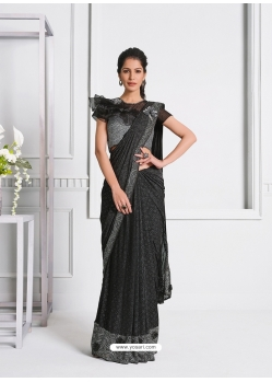 Dark Grey Fancy Designer Party Wear Sari