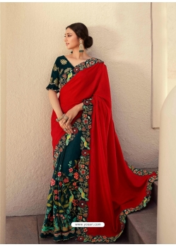Teal Blue Fancy Designer Party Wear Sari