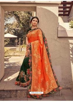 Orange Fancy Designer Party Wear Sari