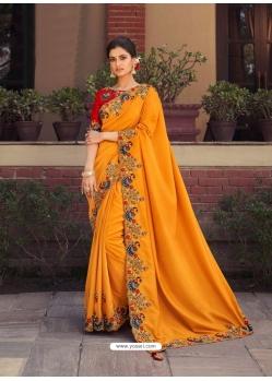 Mustard Fancy Designer Party Wear Sari