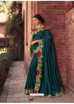 Teal Fancy Designer Party Wear Sari