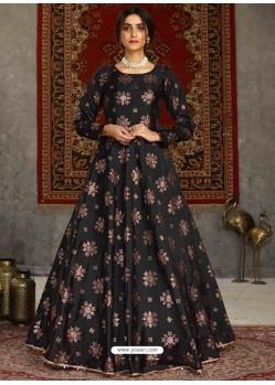 Black Designer Party Wear Anarkali Long Gown