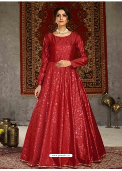 Tomato Red Designer Party Wear Anarkali Long Gown